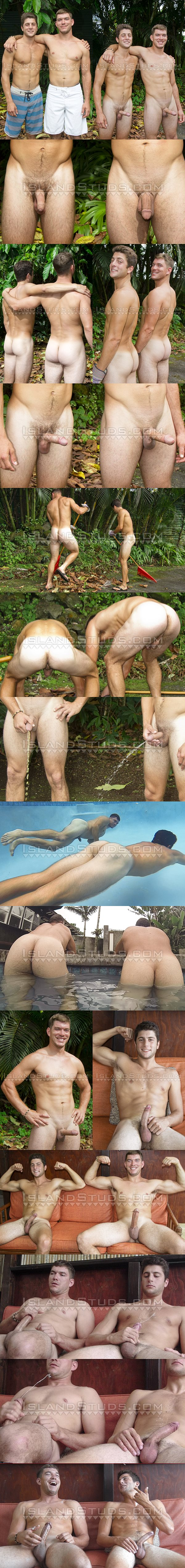 All-American Lumberjack Derek and Italian muscle jock Tony get naked, pose their musular bodies, piss together before they jerk off side by side at Islandstuds