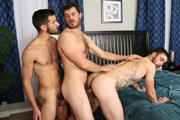 Bearded inked dude Michael Mission, lean hung newcomer Mitch Matthews and veteran porn star Vander bareback each other before Vander and Mitch double creampie Michael at Chaosmen