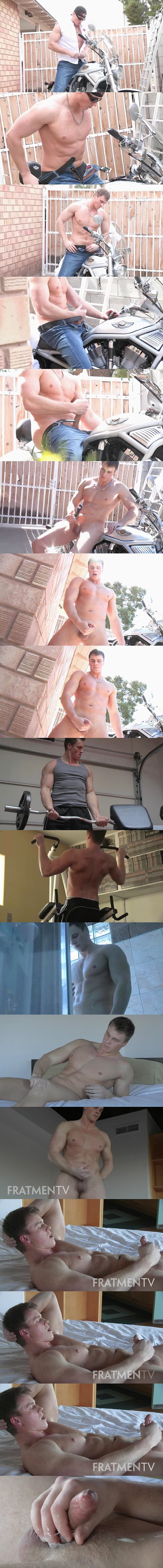 All-American motorcycle stud Jax strips down on motorcycle, works out, has a shower before he jerks off and blows two loads at Fratmen
