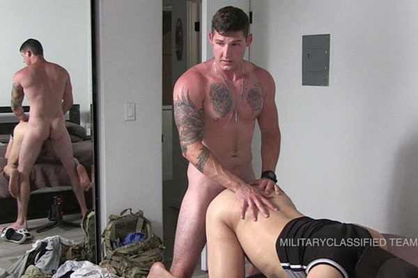 Tattooed straight muscle jock, EX Army Coby (aka Jonah J at Myfriendsfeet) barebacks and breeds Rob in his first gay hardcore scene at Militaryclassified