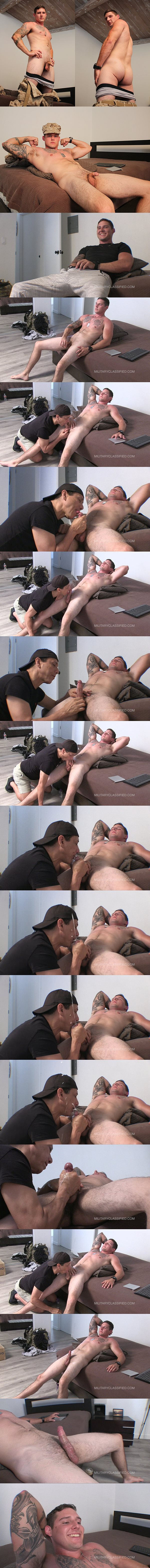 Inked straight muscle jock, EX Marine Coby (aka Jonah J at Myfriendsfeet) gets sucked and wanked before Rob strokes a big juicy load out of Coby's hard cock at Militaryclassified 02