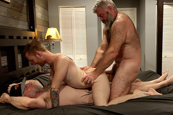 Hairy daddy bear Liam Angell and Will Angell double penetrate and creampie redhead Seamus O'Reilly in Little Red Riding Cock at Musclebearporn