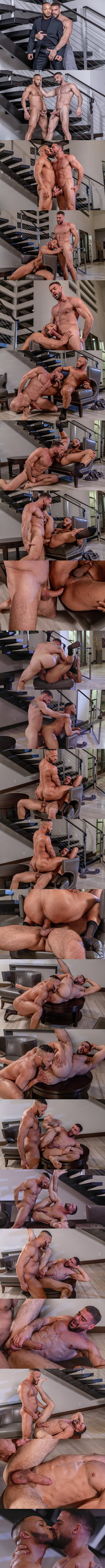 Ripped black muscle hunk Dillon Diaz and Ricky Larkin take turns barebacking each other before Dillon fucks the cum out of Ricky in Hard Days Night at Noirmale 01