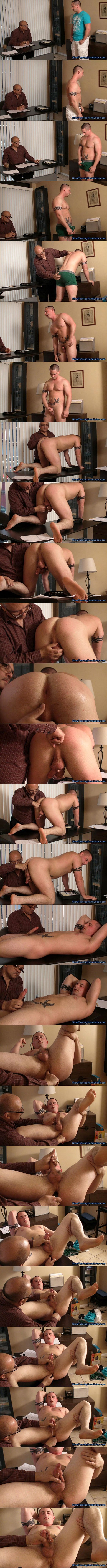 Handsome straight muscle hunk Shawn gets his virgin hole fingered, dildo fucked and jerked off by master Rich in Second Audition at Slowteasinghandjobs 01