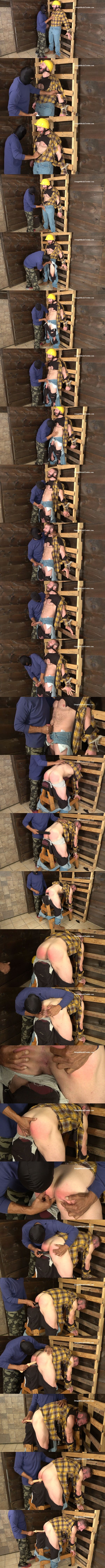 Masculine straight contruction worker Anthony gets bound, gagged, jerked off, spanked, fingered and dildoed by a masked perverted guy in Utility Worker Revenge at Straightmenintrouble 01
