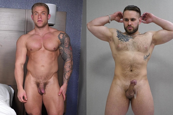 Ripped muscle jock Jake Daniel (aka Tyler Hanson) and masculine Russian straight muscle hunk Nikita get naked and jerk off at Theguysite