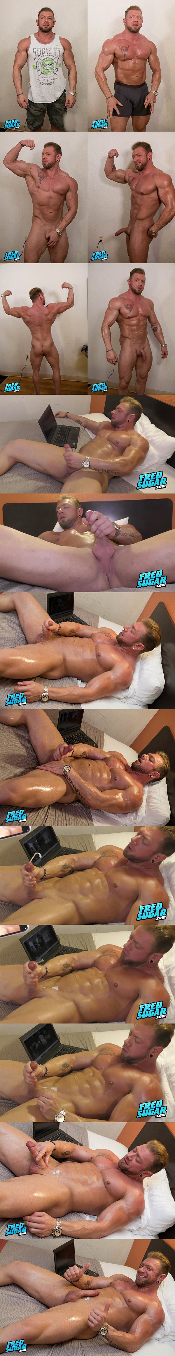 Straight macho hunk Viking Strong returns to show off his muscular naked body before he milks a sticky load out of his hard cock in Viking Strong Returns at Fredsugar
