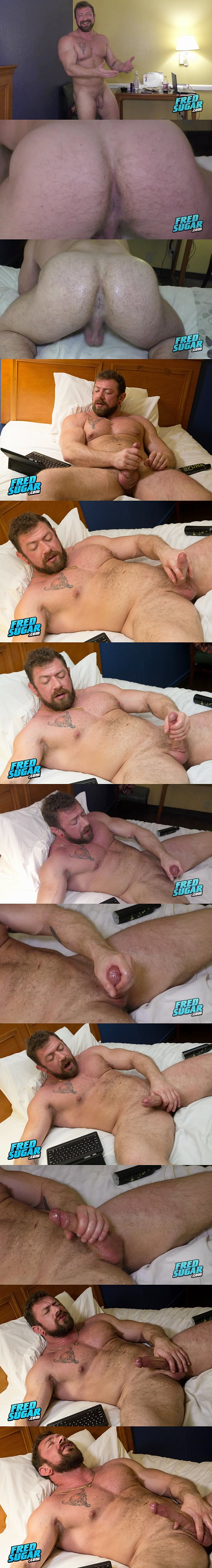 Sexy bearded straight muscle man Viking Strong reveals his virgin manhole before he strokes the white jizz out of his hard pole in Hairy Viking Strong at Fredsugar