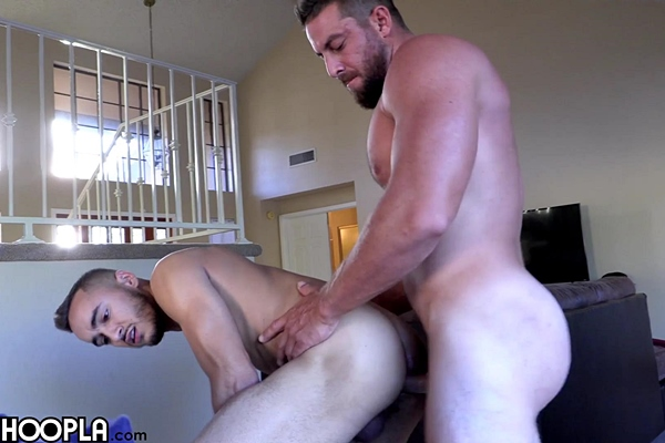 Rugged football stud Derek Jones fucks lean fit latino jock Ethan Manor's tight hairy manhole before he fucks the cum out of Ethan and gives him a facial at Gayhoopla