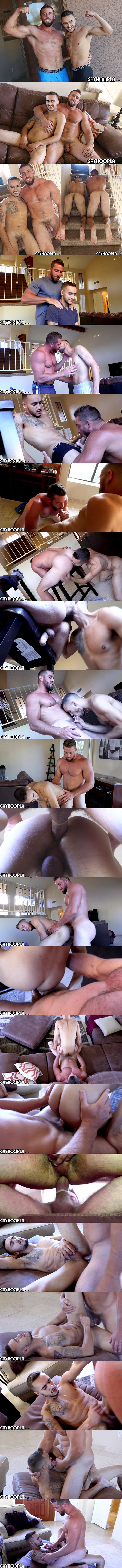 Rugged football stud Derek Jones fucks lean fit latino jock Ethan Manor's tight hairy manhole before he fucks the cum out of Ethan and gives him a facial at Gayhoopla 01