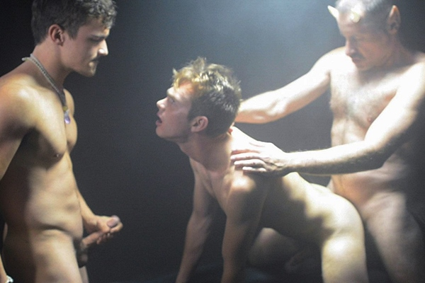 Hot daddy Patriarch Smith barebacks Bryant (aka Elder Miltmore) and John (aka Elder Hardt) in an older younger threesome in A New World Chapter 3 Actaeon at Growlboys