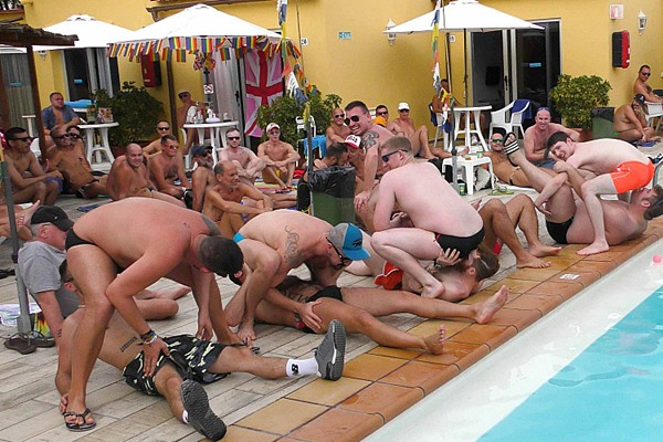 Hung Young Brit, Reece, Mike (aka Mikey) and their buddies suck and bareback until Reece and Mike take multiple loads in their mouths in Gran Canaria Pool Party at Hungyoungbrit