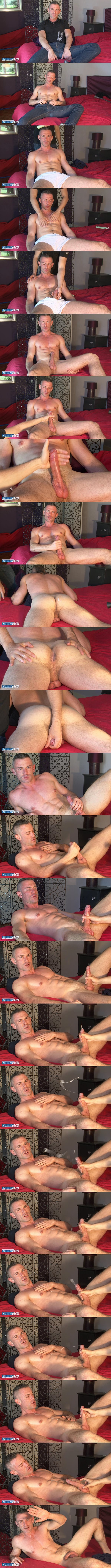 Masculine straight guy, french firefighter Lorenzo gets massaged and stroked by a masseur until the masseur jerks a big load jerked out of Lorenzo's hard boner at Keumgay 01