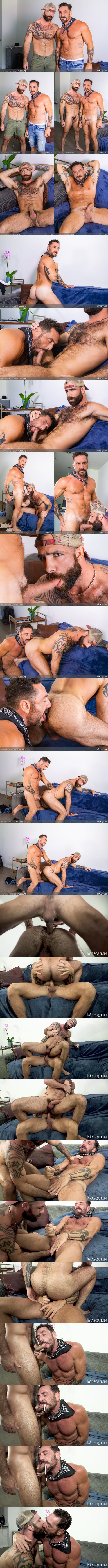 Masculine daddy Vince Parker barebacks inked bearded stud Jake Nicola before Jake fingers the cum out of Vince and cums in Vince's mouth in Anonymous Catfish at Masqulin 01