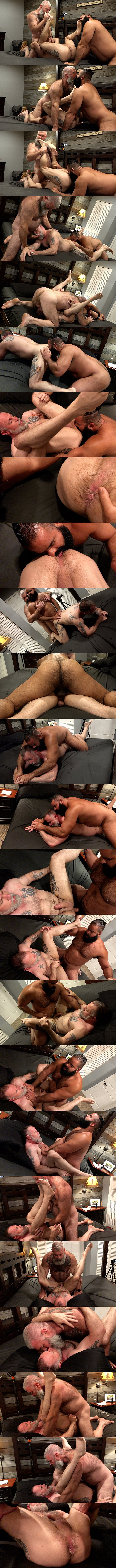 Oscar Bear and Will Angell bareback Liam Angell before they creampie Liam in a muscle bear threeway in Barefoot and Bred at Musclebearporn 01