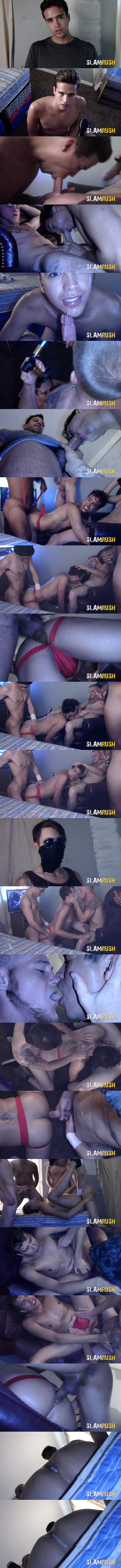 A cute young man gets barebacked and gangbanged by several street fuckers before he gets his mouth and ass filled with creamy loads in Lost Seed at Slamrush 01