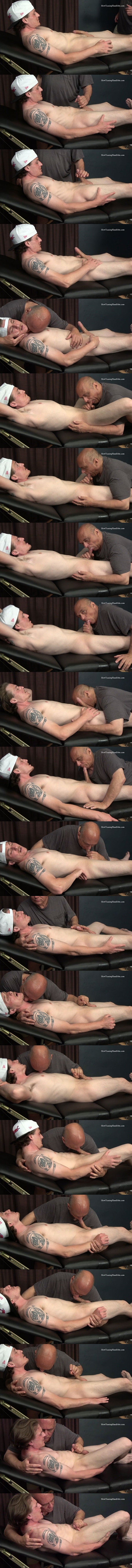 Hot inked straight jock Romeo gets slowly teased and wanked until Romeo gets jerked off by master Rich in Overwhelmed with Arousal and Frustration at Slowteasinghandjobs 01