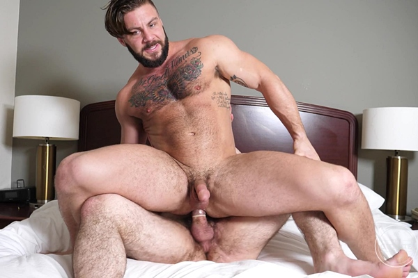 Sexy fuzzy beefcake Jack fucks tattooed bisexual muscle hunk Seth in different positions before they blow their white jizz at Theguysite