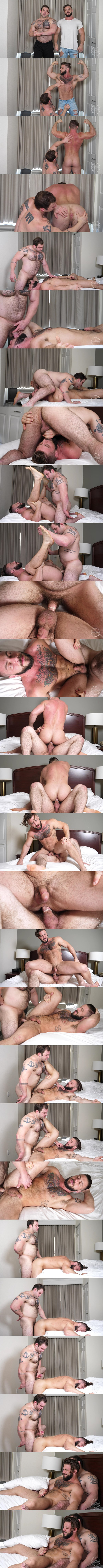 Sexy fuzzy beefcake Jack fucks tattooed bisexual muscle hunk Seth in different positions before they blow their white jizz at Theguysite 01