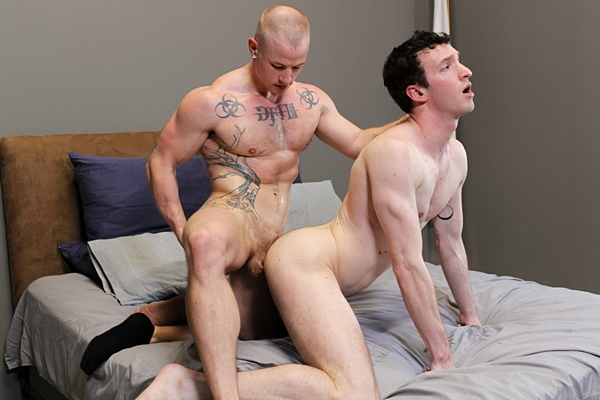 Bald straight muscle jock Niko Carr and big-cocked new recruit JV Marx take turns barebacking each other in both guys' bottoming debut at Activeduty