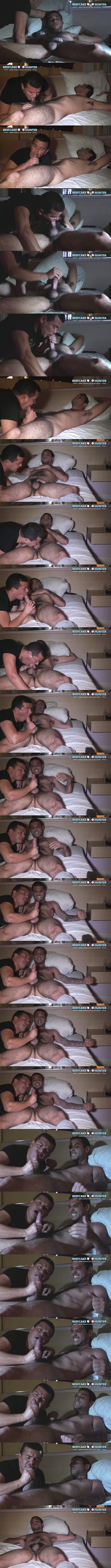 Masculine straight beefcake Chico gets sucked and stroked by Victor before Victor milks a juicy load out of Chico's hard boner in Dark Motel Encounter at Beefcakehunter 01
