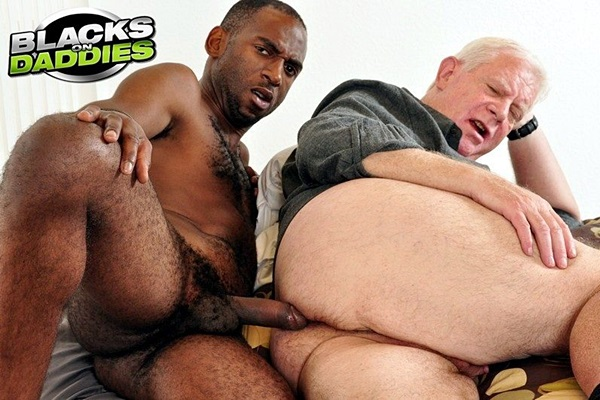 Handsome fit black jock Gangster Jay barebacks daddy Franken before he gives Franken a facial in an older younger interracial scene in Former Playgirl Model at Blacksondaddies