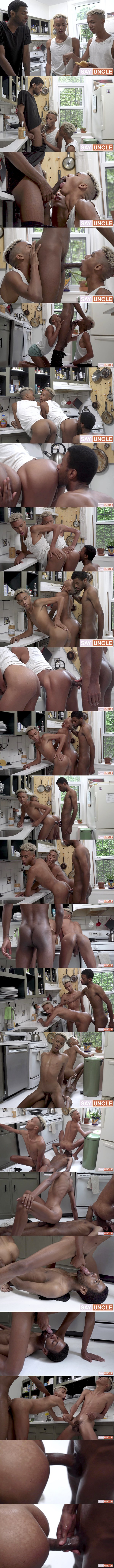 Big-dicked black stud Eric Ford barebacks twins Dante and Diego before Eric gets a facial and creampies one of twins in Snack Time at Brothercrush 01