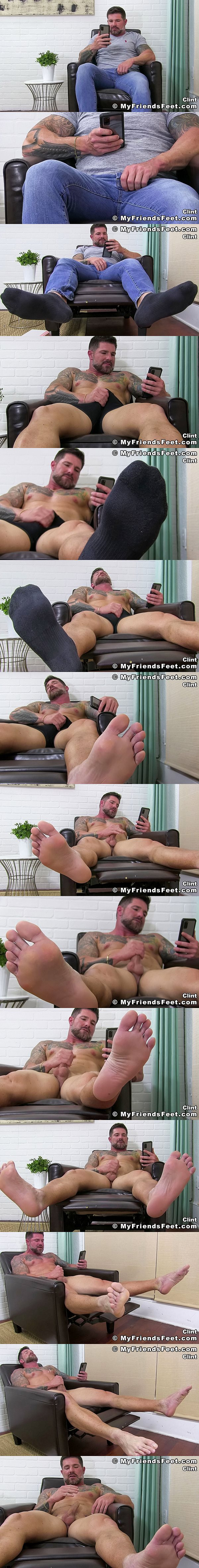 Masculine inked straight beefcake Clint strokes his cock while watching porn on the phone until he shoots his white jizz in Clint Gets Off Barefoot at Myfriendsfeet