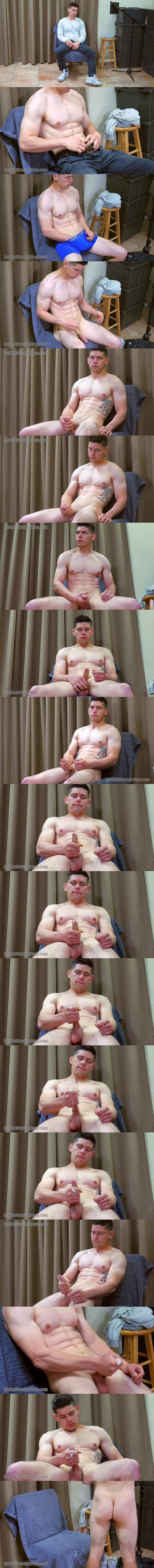 Hung ripped straight dude Mitch Hagen jerks off for the first time on camera before he milks a sticky load out of his hard boner at Redhotstraightboys