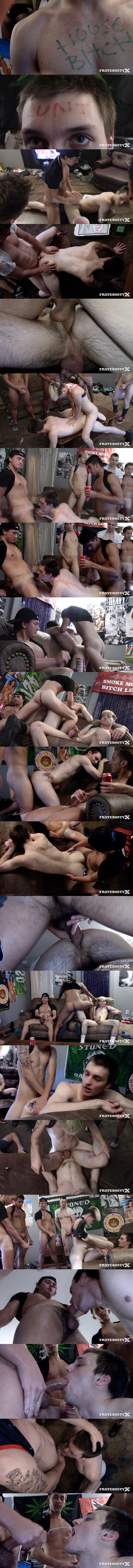 Chase Daniels, Jay Seabrook, Kade Rivers, Levi Whitman and Masyn Thorne gangbang and bareback Quincy Green in Quincy's bottoming debut in House Bitch at Fraternityx 01