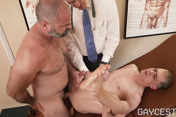 Masculine daddy Bishop Angus barebacks cute twink Marcus Ryan (aka Kory Houston) before the creampies Marcus in Coming Of Age Tape #1 Father Son Checkup at Gaycest