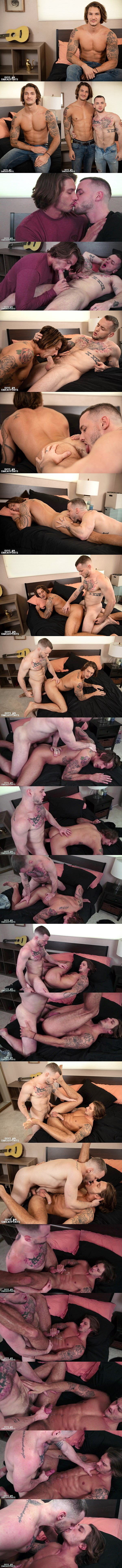 Inked gay porn star Colton Grey barebacks handsome muscle jock Clark Parker before he fucks the cum out of Clark at Guysinsweatpants 01
