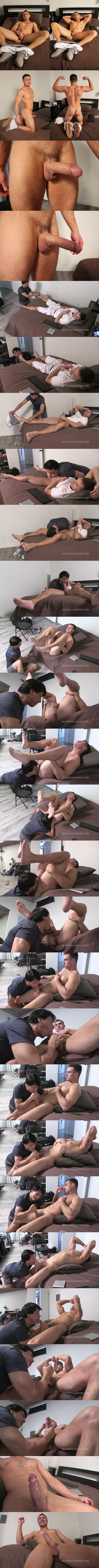 Straight beefcake Dillinger (aka Damien White and Brad) gets his feet worshiped and tight virgin ass rimmed before he gets jerked off at Militaryclassified 01