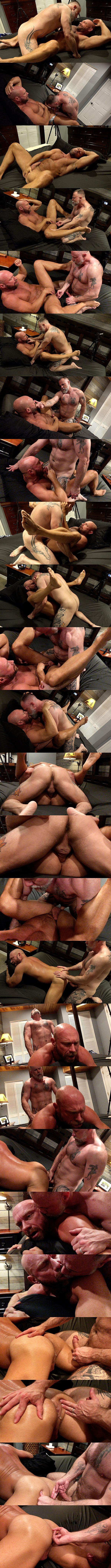 Inked muscle bear Liam Angell barebacks masculine bald daddy Killian Knox before he creampies Killian in Feeding Daddy Some Boy Load at Musclebearporn 01