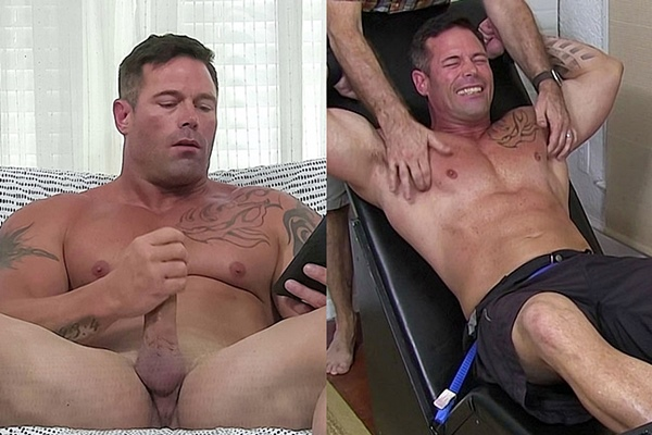 Masculine straight bodybuilder Joey J jerks off for the first time on camera and gets tickled until he begs for freedom through his laughter at Myfriendsfeet