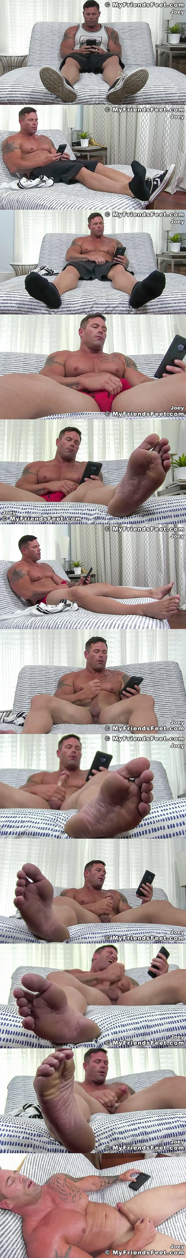 Masculine straight beefcake, bodybuilder Joey J jerks off for the first time on camera until he shoots a big relaxing load at Myfriendsfeet