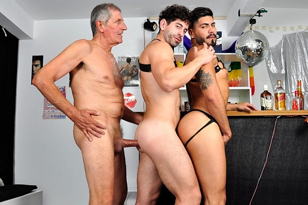 Hung silver fox Chaco barebacks male stripper Icarus and Victorino in an interracial older younger threeway until Chaco and Victorino give Icarus two facials in Last Call at Older4me