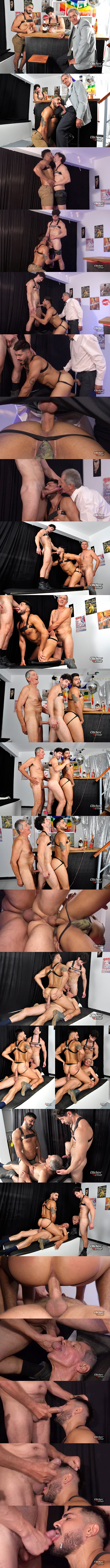 Hung silver fox Chaco barebacks male stripper Icarus and Victorino in an interracial older younger threeway until Chaco and Victorino give Icarus two facials in Last Call at Older4me 01