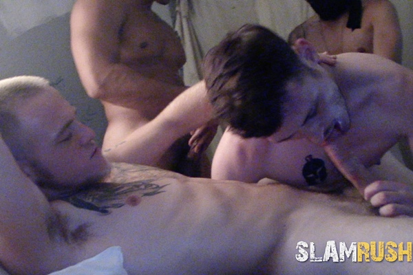 Johnny Cheeks, Shawn, Tony Hawg and Tony Romero gangbang and bareback newcomer Josh Cannon before they breed Josh in Skull Fuck at Slamrush