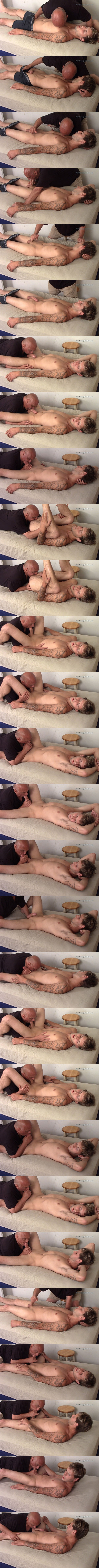Cute inked straight boy Nick gets his tight virgin ass rimmed, thick cock teased and sucked before he blows his load in Rich's mouth in an intense orgasm at Slowteasinghandjobs 01