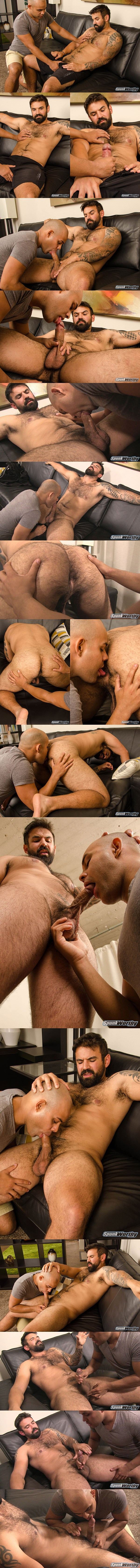 Former military stud, masculine inked straight beefcake Freddy gets serviced by a guy for the first time until Freddy gets jerked off at Spunkworthy 01