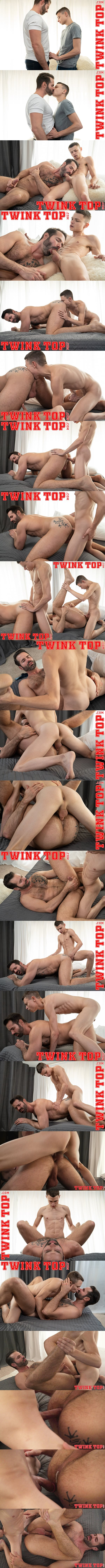 Skinny twink Austin Young barebacks sexy bearded handsome daddy Dani Robles before he creampies Dani in an older younger scene in Extra Innings at Twinktop 01