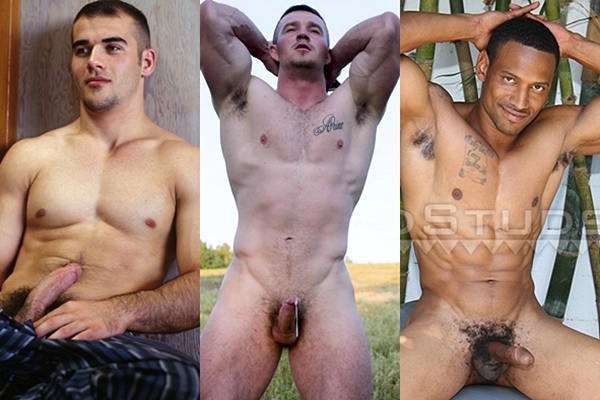 Handsome straight college jock Brad, masculine Russian beefcake Daddy Bull and fit black muscle stud Darius stroke their cocks and shoot their white jizz