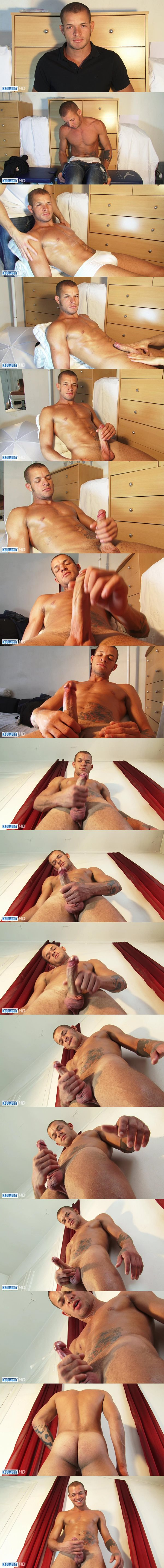 Masculine Brazilian straight hunk Marlon gets massaged before he strokes the cum out of his hard boner at Keumgay