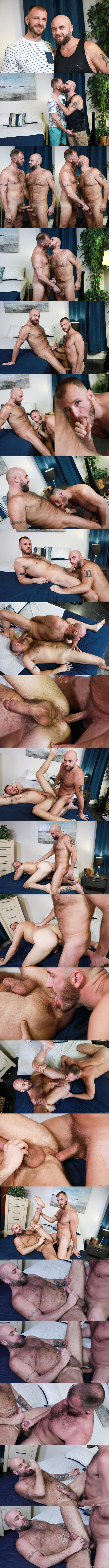 Masculine hairy daddy Chase Ryder and Jax Hammer take turns barebacking each other before Chase fucks the cum out of Jax in Chase's bottoming debut in Versatile Fur at Menover30 01