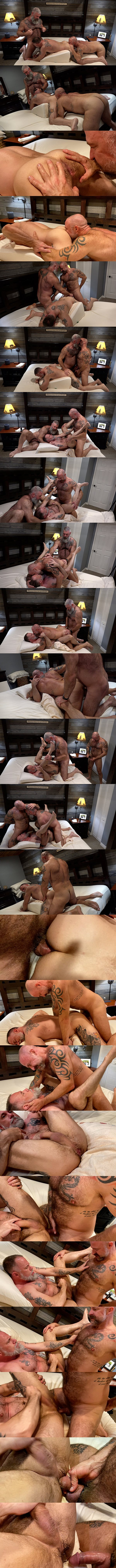 Will Angell barebacks Musclebear Montreal and Liam Angell before Montreal creampies Liam in Montreal's bottoming debut in Muscle Bear Cum Fest at Musclebearporn 01