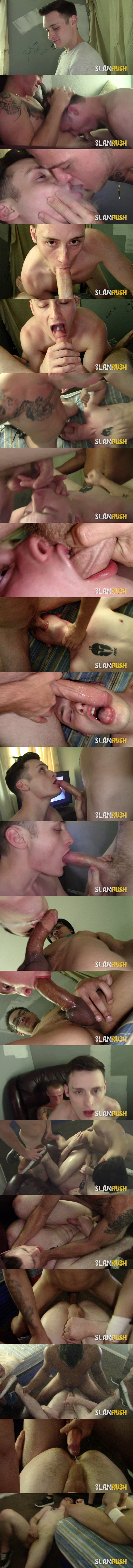 Tony Hawg, Tony Romero and an unknown street fucker gangbang and bareback broke slutty bitch Josh Cannon until Josh takes several loads in his both holes in Sloppy Slam at Slamrush 01
