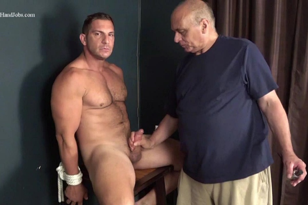 Masculine straight beefcake, Italian stallion Markey returns to gay porn and gets slowly serviced and stroked by master Rich until he gets jerked off in Markey's Natural Look at Slowteasinghandjobs