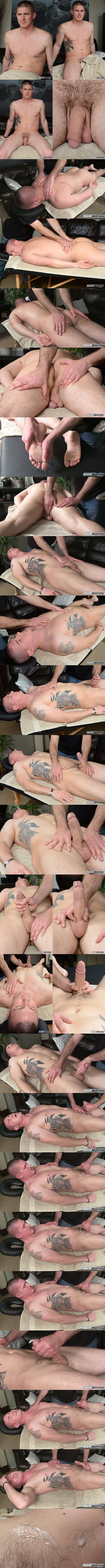 Hot straight muscle jock, military stud Eli gets massaged and wanked off by a guy for the first time until Eli blows his load in Eli's Massage at Spunkworthy 01