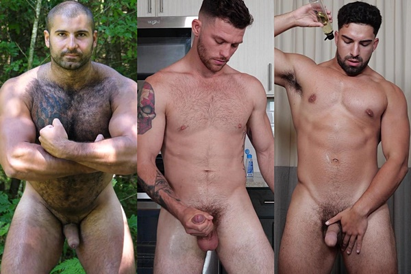 Manly fuzzy Russian muscle bear Andrei, inked straight jock Josh and sexy male stripper Nick show off their naked bodies before they jerk off at Theguysite